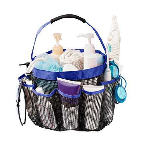 Titan Mall Mesh Shower Caddy, Quick Dry Shower Tote Bag Toiletry and Bath Organizer with 8 Storage Compartments, Large Space Shower Tote for Dorms, Gym, Camp & Travel, Blue