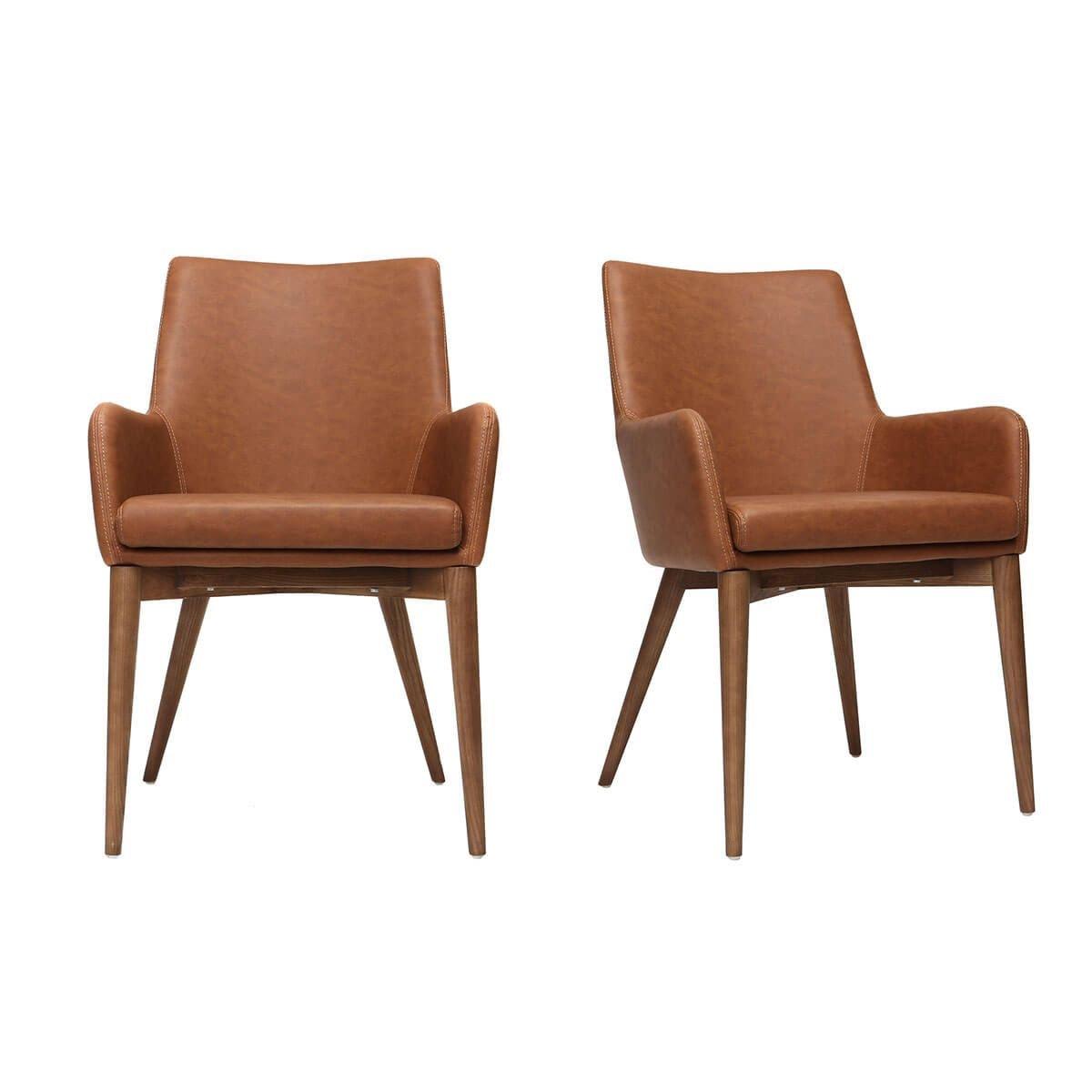 Miliboo - Lote de 2 sillones vintage PU marrón y madera ...