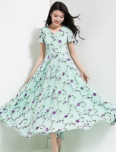 Jolie PU&PU Damen Chiffon Swing Kleid-Party Ausgehen Lässig Alltäglich Retro Boho Blaumen V-Ausschnitt Maxi Kurzarm Polyester Chiffon Frühling Sommer