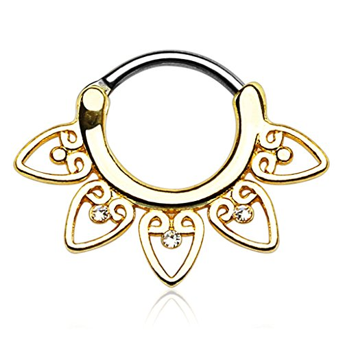 Tribal Fan With Clear Cz 14g or 16g Septum Clicker - Choose Gold Plate, Rose, or Silver Tone (14 GA Gold ()