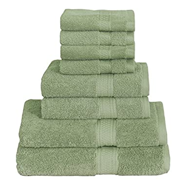8 Piece Towel Set (Green); 2 Bath Towels, 2 Hand Towels & 4 Washcloths - Cotton By Utopia Towels