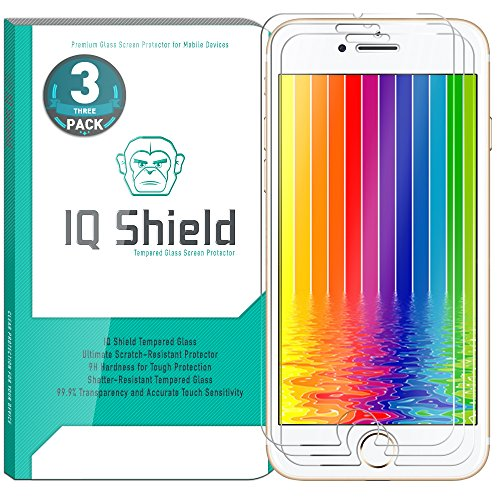 iPhone 8 Screen Protector (3-Pack), IQ Shield Tempered Ballistic Glass Screen Protector for iPhone 8 99.9% Transparent HD and Shatter-Proof Shield