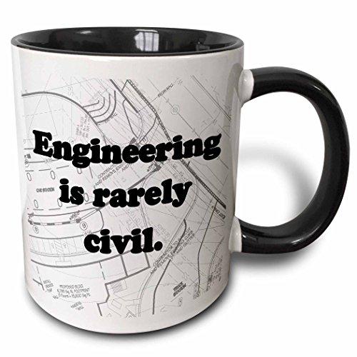 3dRose Engineering Rarely Civil Black
