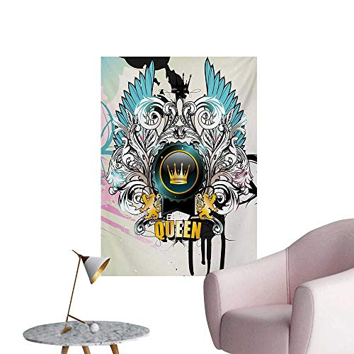 (Anzhutwelve Queen Wallpaper Artistic Design Arms Shield with Crown Wings and Victorian Floral Elements ImperialMulticolor W24 xL36 Art Poster )
