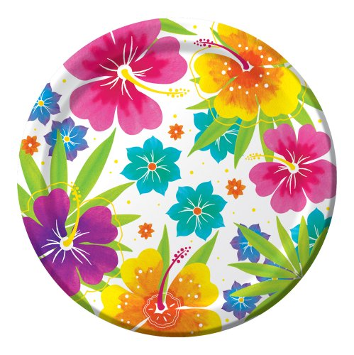 Creative Converting Big Value 50 Count Round Dinner Plates, Luau Floral - Luau Plates