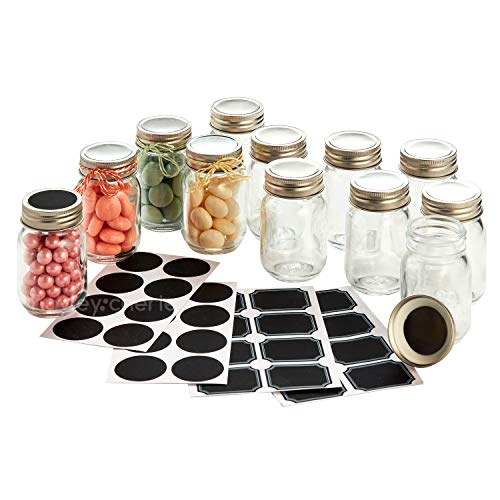 Hayley Cherie - 2.5 oz Mini Glass Mason Jars with Lids (Set of 12) with Chalkboard Labels -