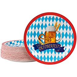 Disposable Plates - 80-Count Paper Plates, Oktoberfest Party Supplies for Appetizer, Lunch, Dinner, Dessert, Beer Barley Pretzel and Oktoberfest Banner Design, 9 Inches Diameter