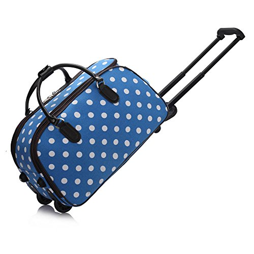Cute Owl Polka Dot Large Canvas shoulder bag with Shoe Compartment Travel Tote Luggage Weekender Duffle Bag