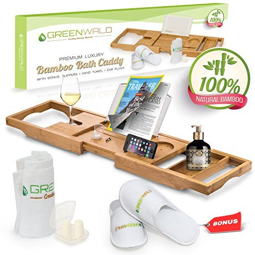 Greenwald Bamboo Bath Caddy Tray, Expandable Non Slip Wooden Bathtub Shelf with Wine Glass and Book Holder, Phone Tray, Luxury Bonus: Slippers, Hand Towel and Earplugs