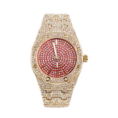 Bling-ed Out Men's 40mm Red Dial CZ Gold Watch with Tapered Band | Japan Movement | Simulated Lab Diamonds ()