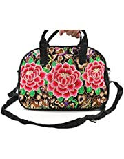 Crossbody Bags, Embroidered Vintage Flower Top Handle Crossbody Handbags Large Tote Shoulder Bag Messenger Bags Purse for Women Girls (Red flower)
