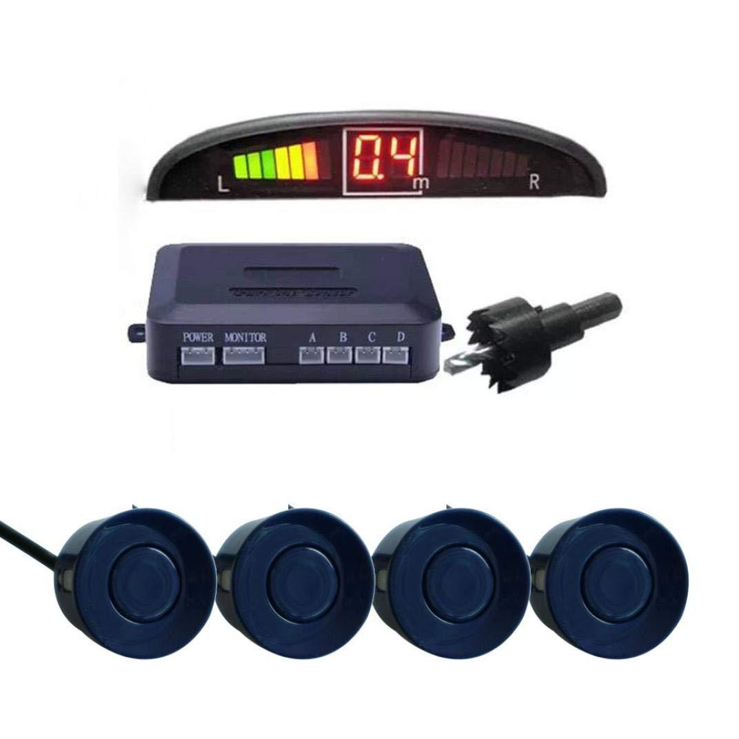 Sonmer Car Reversing Parking Radar Sensor, With 4 Sensors Audio Buzzer Sound Alarm (Blue)