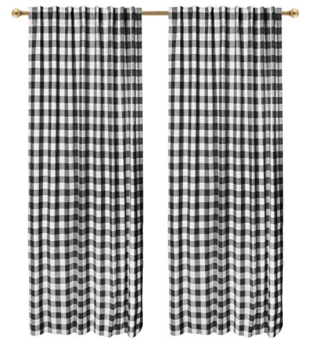 (Farmhouse Curtain in Gingham Plaid Check Fabric 50x84 Black/White, Cotton Curtains, 2 Panels Curtain,Tab Top Curtains, Room Darkening Drapes, Curtains for Bedroom, Curtains for Living Room, Set of 2)