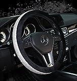 Sino Banyan Girly Diamond Bling Steering Wheel Cover,15 Inch,Winter Warm Wool,Black