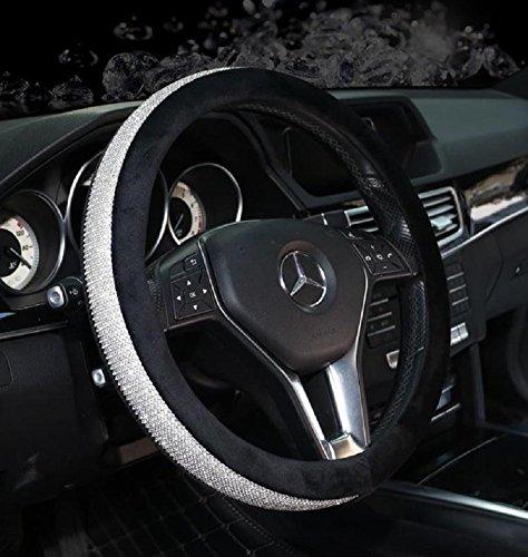- Sino Banyan Girly Diamond Bling Steering Wheel Cover,15 Inch,Winter Warm Wool,Black