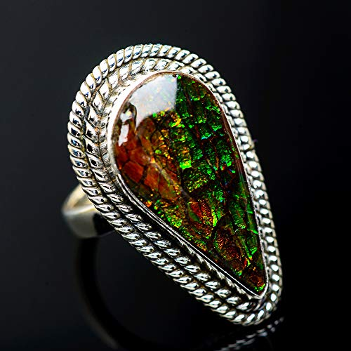 Ana Silver Co Large Ammolite Ring Size 6.5 (925 Sterling Silver) - Handmade Jewelry, Bohemian, Vintage RING955617 from Ana Silver