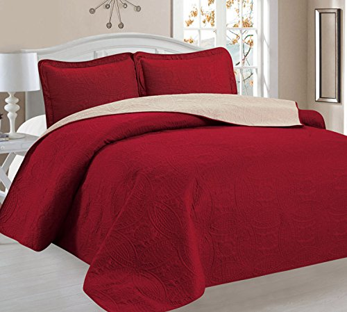 Cheap  Home Sweet Home Victoria Design Reversible 3 PC Quilt Bedspread Sets (Full/Queen,..