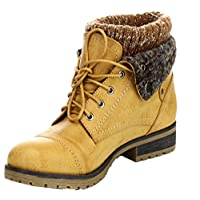 Refresh Wynne-01 Combat Style Lace Up tobillo botín, Tan, 8.5