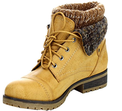 Refresh Wynne-01 Women's Combat Style Lace Up Ankle Bootie,Tan,8.5
