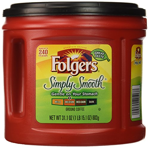 Folgers Medium Roast Coffee - Folgers Simply Smooth Ground Coffee, Medium Roast, 31.1 Ounce