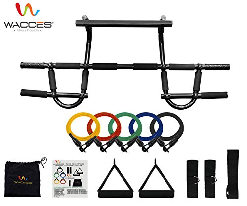 Wacces Chin up Pull up Bars and Resistance Bands Perfect to Use with P90x and Any Other Fitness Program. (Pcs Premier Mounts)