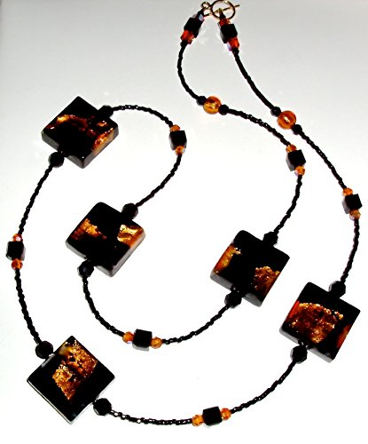 (Black, Topaz, Gold Infused Murano Square Bead Necklace with Crystals)