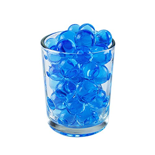 1/2 Pound Bag of Blue Water Gel Beads Pearls for Vase Filler, Candles, Wedding Centerpiece, Home Decoration, Plants, Toys, Education. Makes 6 Gallons. by Super Z - Round Bead Bowl