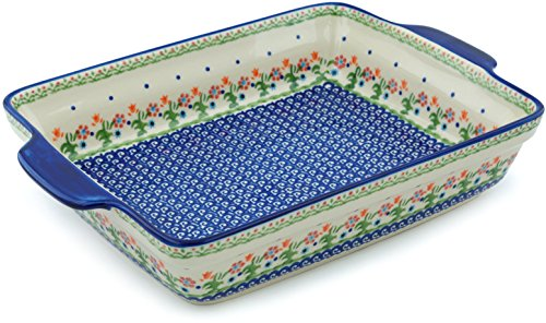Polish Pottery Rectangular Baker with Handles 15-inch Spring Flowers by Polmedia Polish Pottery