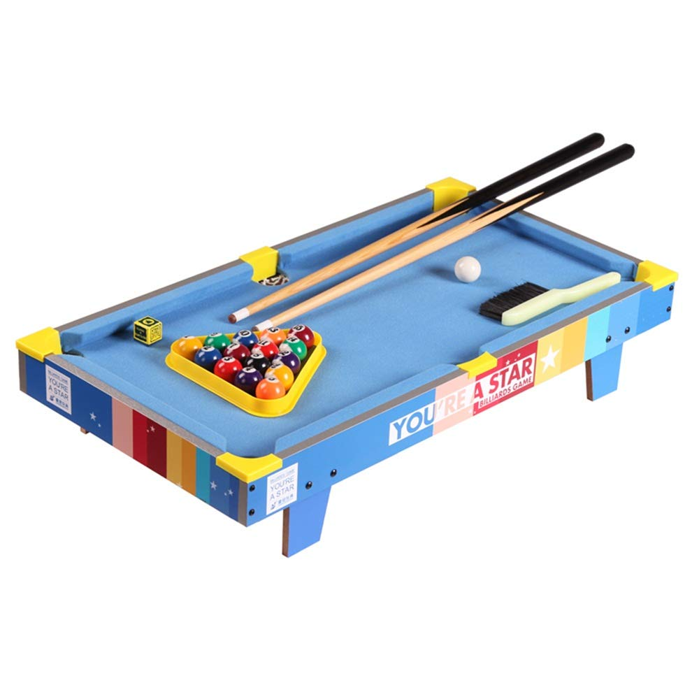 TAESOUW-Sports Tabletop Pool Table Pool Cues Tabletop Pool Set Billiards Game Set Includes Game Balls (Color : Blue, Size : 69.5x13.5x37cm) by TAESOUW-Sports