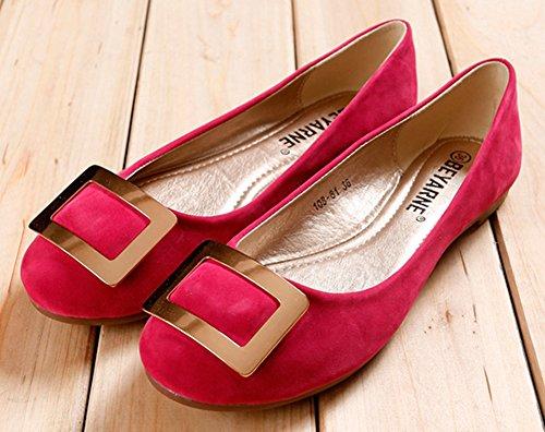 Sfnld Womens Sweet Round Toe Low Cut Flats Scarpe Slip On Metal Rosa Rosso