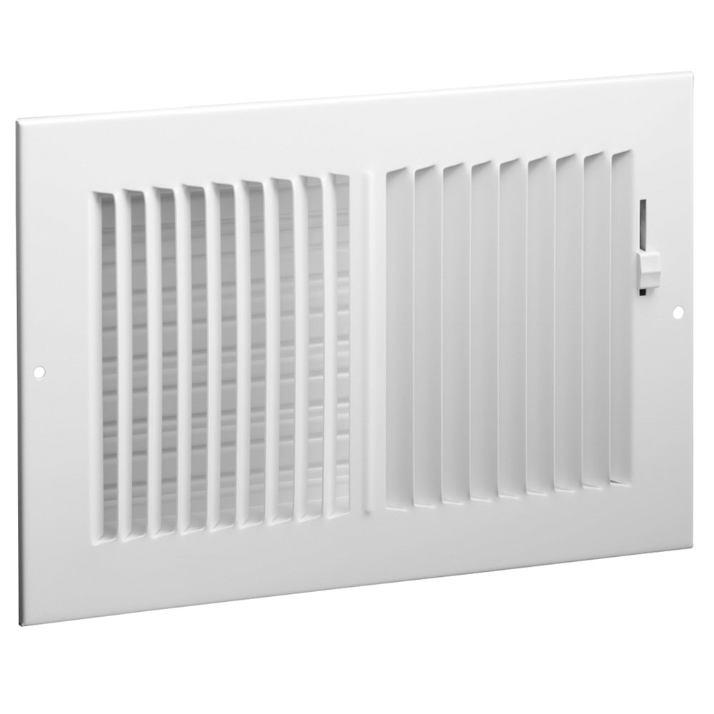 Hart & Cooley 682 14x6 W HVAC Register, 14'' W x 6'' H, Two-Way Steel for Sidewall/Ceiling - White (043843)