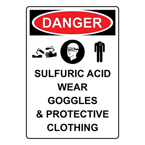 Owesoe Wall Decoration Garage Sign 8x12 Danger Sulfuric Acid Wear Goggles & Protective Clothing OSHA Safety Sign Notice Sign for Street Road Outdoor Indoor