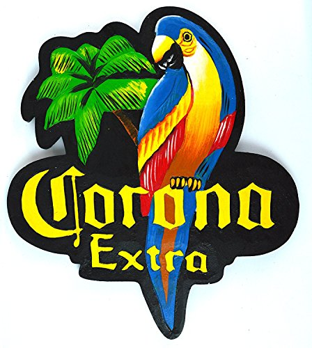 Wooden Tiki Bar - Hand Carved CORONA EXTRA PARROT Beer Wooden Wall Hanging Art Sign Tiki Bar