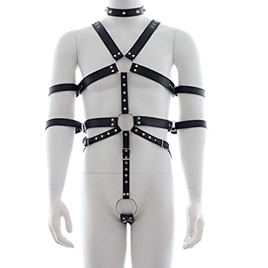CHICTRY Men s Punk PU Leather Adjustable Body Straps Harness Bodysuit with  Armbands