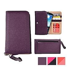 Cooper Cases(TM) Glamour Women's Clutch Universal BlackBerry Z3 / Z30 / Leap Smartphone Wallet in Dark Purple (Wrist Strap, Credit Card/ID Slots, Slip & Zipper Pockets)