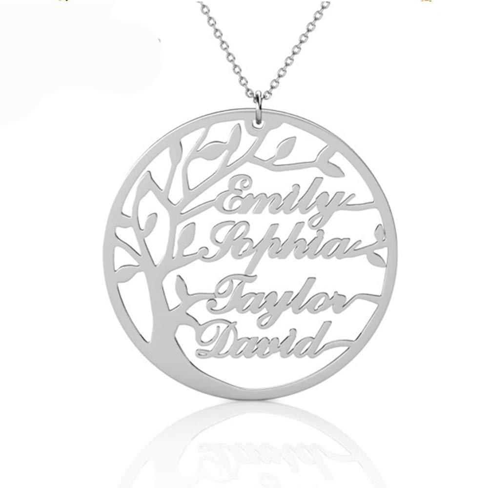 BONEK Personalized 925 Sterling Silver Circle Family Tree Name Necklace Custom Made 4 Any Names Grandmother R-66689003