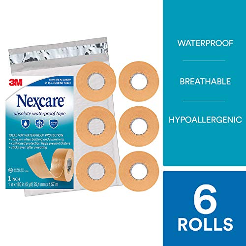 Nexcare Absolute Waterproof First Aid Tape SIOC, Seals Out Water, Dirt and Germs, 1-Inch x 5-Yard Roll, 6 Rolls (Wrap Athletic Nexcare)
