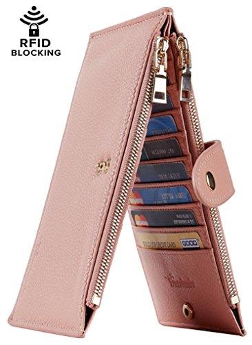 Travelambo Womens Walllet RFID Blocking Bifold Multi Card Case Wallet with Zipper Pocket (Chelsea - Pink Chelsea