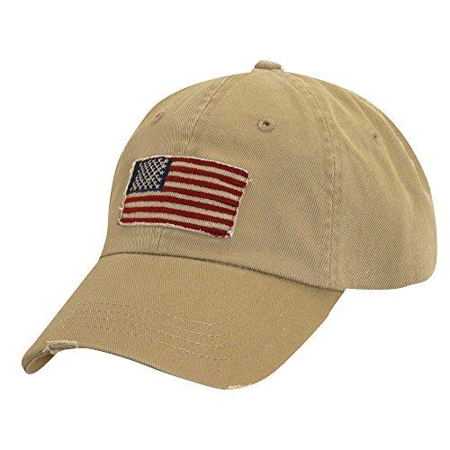 Dorfman Pacific Khaki Tan Cotton Twill Hat - Vintage Frayed American Flag Baseball Cap - Unisex