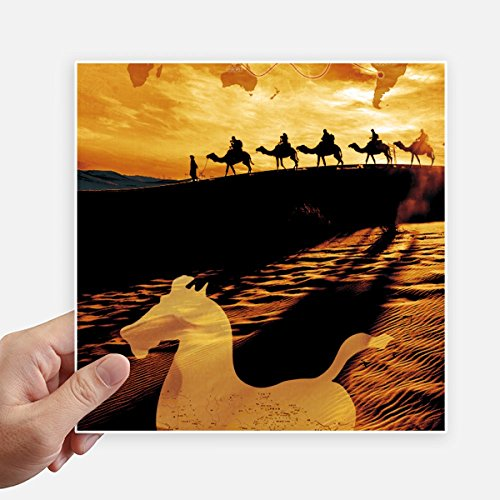 - DIYthinker Desert Along the Way to the Silk Road Map Camel Square Stickers 20cm Wall Suitcase Laptop Motobike Decal 4pcs