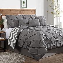 Geneva Home Fashion 7-Piece Ella Pinch Pleat Comforter Set, Queen, Grey