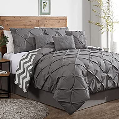 Geneva Home Fashion 7-Piece Ella Pinch Pleat Comforter Set, King, Grey
