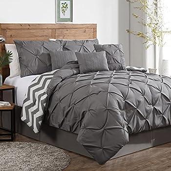 Geneva Home Fashion 7-Piece Ella Pinch Pleat Comforter Set, King, Grey