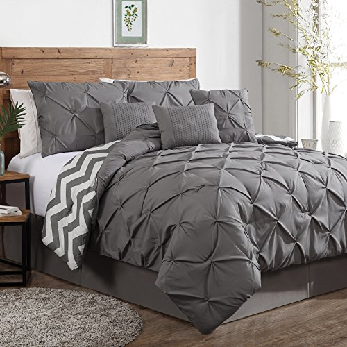 Holiday King Comforter - Geneva Home Fashion Avondale Manor 7-Piece Ella Pinch Pleat Comforter Set, King, Grey