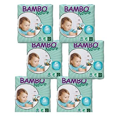 Bambo Nature Premium Eco-friendly Diapers,size 5 Junior, 6 Pk 27 Ea