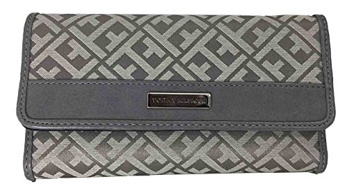 Tommy Hilfiger Womens Core Wallets Continental Checkbook Wallet TH Grey