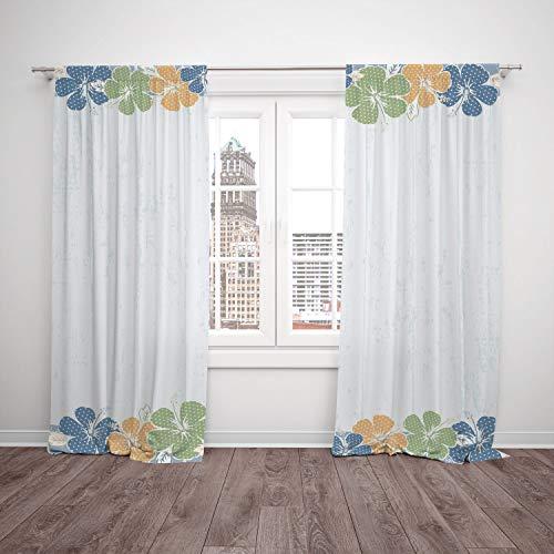 Cortina de ventana opaca con aislamiento térmico, fitness, estilo de vida saludable, lunares de colores, verde, cereales de...