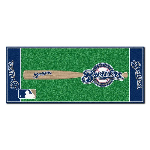 Milwaukee Brewers Rug (FANMATS MLB Milwaukee Brewers Nylon Face Football Field Runner)