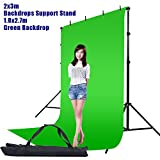 Hakutatz 6x9FT/1.8x2.7M Photo Studio Green Chromakey Muslin Backdrop + Clamp, Carrying Bag + 6.7x10FT/2x3M Adjustable Video Studio Background Support Stand Kit