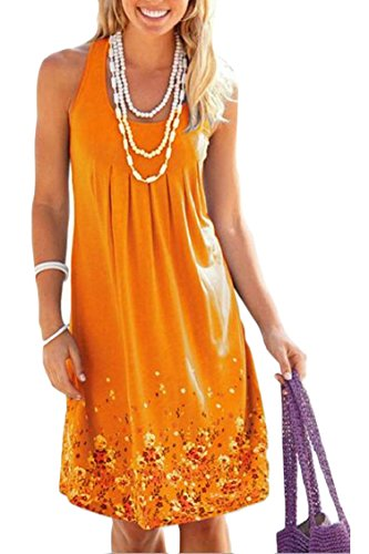 Loose Summer Sundress Sexy Womens Jaycargogo Sleeveless Dress Tank Floral 2 Printed tqf6fw